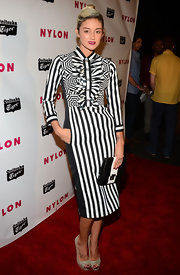 Caroline D'Amore showed her funky side with this black-and-white striped fitted shirtdress.