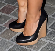 Elisha Cuthbert walked tall at the Nylon event in Beverley Hills wearing a pair of stylish wedged pumps.