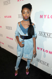 Skai Jackson rounded out her denim ensemble with a distressed coat, also by Zara.