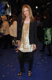 Trinny Woodall matched her sequined gold blouse with an equally sparkly pair of platform sandals at the 'Nanny McPhee' premiere.