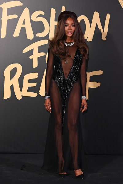 Naomi Campbell Sheer Dress [red carpet arrivals - fashion for relief london,clothing,fashion,carpet,fashion model,dress,long hair,red carpet,event,flooring,muscle,london,england,british museum,naomi campbell]