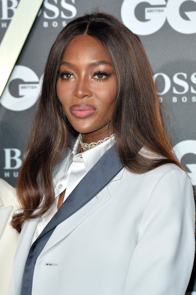 Naomi Campbell Long Center Part [hair,hairstyle,eyebrow,suit,layered hair,beauty,long hair,brown hair,lip,outerwear,red carpet arrivals,naomi campbell,gq men of the year awards,england,london,tate modern]
