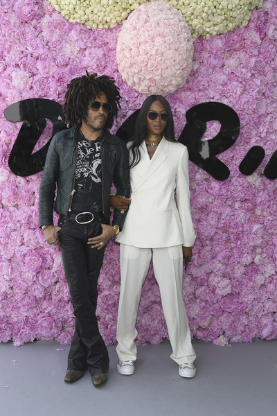 Naomi Campbell Pantsuit [purple,pink,violet,lilac,fashion,fun,plant,flower,dior homme,outside arrivals,lenny kravitz,naomi campbell,spring,l-r,summer 2019,paris fashion week,show,dior homme menswear spring]