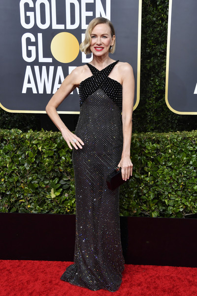 Naomi Watts Box Clutch [dress,red carpet,clothing,carpet,shoulder,fashion,flooring,gown,premiere,event,arrivals,naomi watts,the beverly hilton hotel,beverly hills,california,golden globe awards,katey sagal,model,red carpet,celebrity,image,losextras.es,supermodel,times up,sexual harassment]