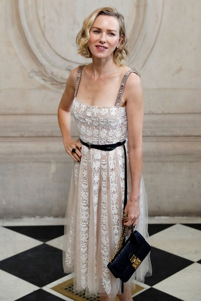 Naomi Watts Chain Strap Bag [summer,clothing,dress,fashion model,lady,fashion,cocktail dress,shoulder,photo shoot,gown,neck,christian dior : outside arrivals,naomi watts,women,actress,british,australian,paris fashion week womenswear spring,christian dior,photocall]