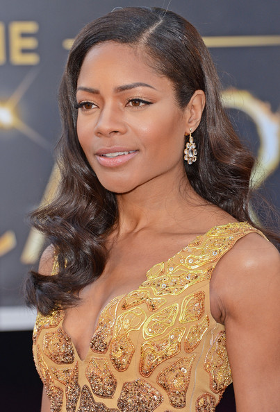 Naomie Harris Gold Dangle Earrings