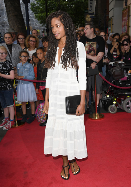 Naomie Harris Thong Sandals [gangsta granny - press night - arrivals,gangsta granny,red carpet,clothing,flooring,carpet,fashion,premiere,event,dress,long hair,fashion design,david walliams,naomie harris,press,west end,england,london,garrick theatre]