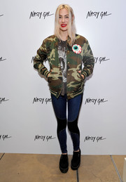 Rachel Finley rocked a camo-print track jacket at the Nasty Gal Melrose store launch.