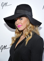 Sadie Calvano styled her look with a chic black floppy hat for the Nasty Gal Melrose store launch.