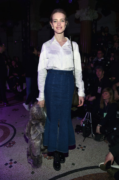 Natalia Vodianova Denim Skirt