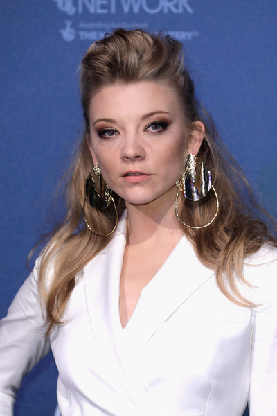 Natalie Dormer Gold Dangle Earrings [hair,hairstyle,eyebrow,blond,beauty,long hair,lip,chin,forehead,brown hair,red carpet arrivals,natalie dormer,british independent film awards,london,england,old billingsgate]
