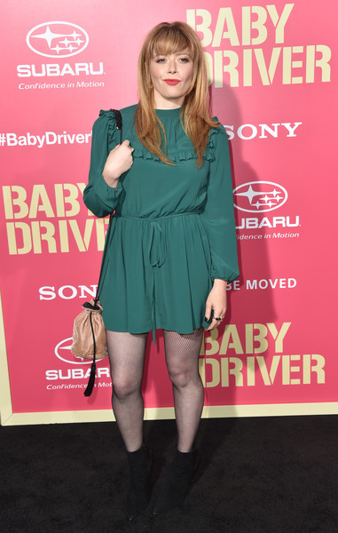 Natasha Lyonne Fabric Bag [baby driver,clothing,premiere,cocktail dress,footwear,carpet,joint,dress,leg,flooring,fashion model,arrivals,natasha lyonne,california,los angeles,ace hotel,sony pictures,premiere]
