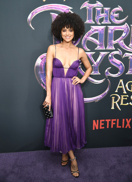 Nathalie Emmanuel Quilted Clutch [the dark crystal: age of resistance,resistance,purple,clothing,dress,violet,haute couture,cocktail dress,costume,formal wear,nathalie emmanuel,new york,museum of the moving image,premiere,new york premiere]