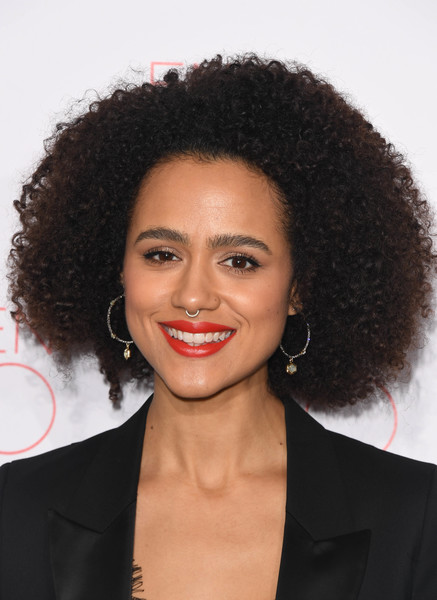 Nathalie Emmanuel Afro [la boh\u00e8me,hair,hairstyle,face,lip,jheri curl,eyebrow,black hair,chin,beauty,forehead,vip performance - arrivals,nathalie emmanuel,vip performance,la boh\u00e3,london coliseum,england]