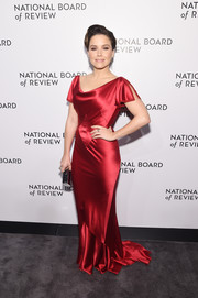 Sophia Bush went for vintage glamour in a red satin fishtail gown by Zac Posen at the National Board of Review Awards Gala.