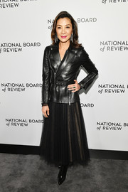 Michelle Yeoh was rocker-chic in a black leather jacket at the National Board of Review Awards Gala.