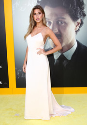 Kara Del Toro attended the premiere of 'Genius' looking sultry (as always) in an ivory slip dress.