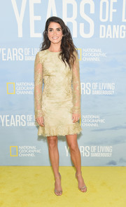 Nikki Reed oozed elegance wearing this chartreuse lace cocktail dress by Monique Lhuillier at the new season premiere of 'Years of Living Dangerously.'