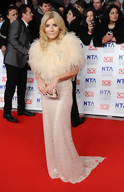 Michelle Collins wore a trailing lace gown to the National Television Awards.