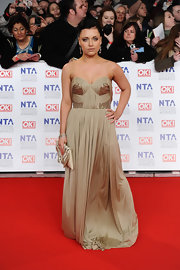 Shona McGarty wore a lovely bronze strapless gown to the National Television Awards.