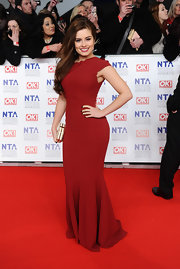 Rachel Shenton showed off her curves at the National Television Awards in a deep red mermaid gown.