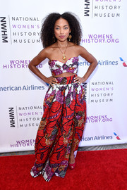 Logan Browning matched her top with a voluminous maxi skirt.