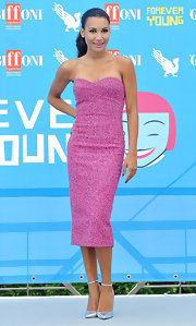 Naya looks pretty in pink at the Griffoni Film Festival.