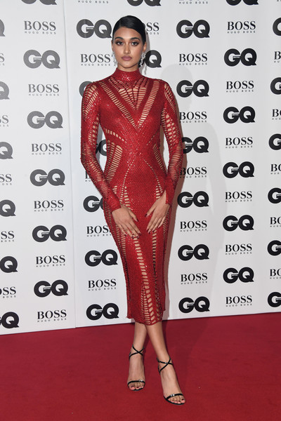 Neelam Gill Strappy Sandals [clothing,red carpet,red,fashion model,carpet,joint,fashion design,dress,footwear,premiere,red carpet arrivals,neelam gill,gq men of the year awards,awards,england,london,tate modern,gq men of the year]