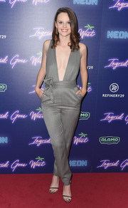 Sarah Ramos showed her daring side in a gray Milly jumpsuit with a down-to-there neckline at the New York premiere of 'Ingrid Goes West.'