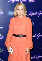 Jennifer Morrison paired a white Hayward clutch with a salmon dress for the New York premiere of 'Ingrid Goes West.'