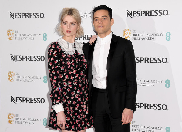 More Pics of Lucy Boynton Print Dress (8 of 12) - Dresses & Skirts Lookbook - StyleBistro [event,premiere,fashion,suit,carpet,award,dress,white-collar worker,formal wear,smile,nespresso,red carpet arrivals,rami malek,lucy boynton,british academy film awards,england,london,kensington palace,nominees party,nominees party]