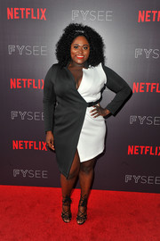 Danielle Brooks made a stylish statement with this black-and-white wrap dress by ASOS at the Netflix FYSEE 'Scene Stealers' event.