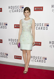 Kate Mara looked angelic in this structured pastel sheath dress with intricate beading at the 'House of Cars' premiere in DC.