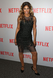 Laverne Cox was sexy-chic in an appliqued sheer-panel LBD by Carmen Marc Valvo at the 'Orange is the New Black' Q&A.