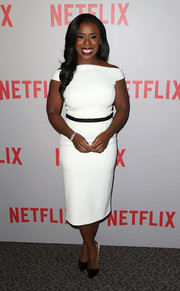 Uzo Aduba kept it classy in a crisp white off-the-shoulder dress at the 'Orange is the New Black' Q&A.