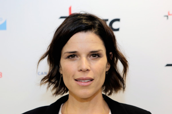 Neve Campbell Short Wavy Cut [hair,face,eyebrow,hairstyle,forehead,chin,lip,beauty,cheek,skin,neve campbell,office - inside,new york city,bgc,gfi,cantor fitzgerald,inc,charity day,annual charity day]
