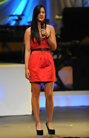 Michelle Wie looked statuesque in a red mini dress and studded black platform pumps at the World Leadership Awards.