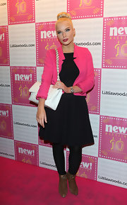 Helen Flanagan brightened up her A-line LBD with a hot pink blazer.