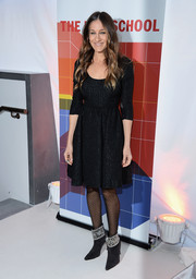 Sarah Jessica Parker went for classic femininity in a fit-and-flare brocade LBD by Tracy Reese during the New School University Center grand opening.