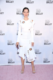 Rebecca Hall completed her outfit with silver ankle-strap sandals.