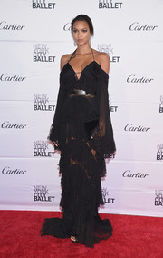 Lais Ribeiro looked enchanting in a tiered, cold-shoulder halter gown by Roberto Cavalli at the New York City Ballet 2017 Spring Gala.