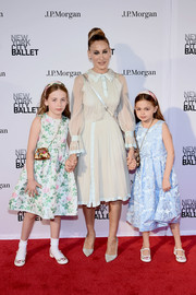 Sarah Jessica Parker went ladylike in a long-sleeve nude dress with ice-blue satin trim at the New York City Ballet 2018 Spring Gala.