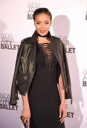 Selita Ebanks arrived for the New York City Ballet Spring Gala wearing a black leather jacket over a bandage dress.
