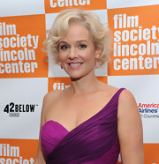 Penelope Ann Miller wore her hair a la Marilyn Monroe at a screening of 'The Artist.' She created an ultra glamorous look pairing her platinum tresses with a sexy violet and fuchsia dress one-shoulder dress.
