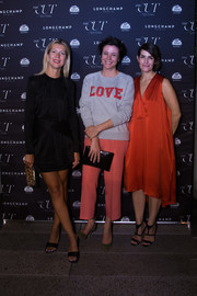 Garance Dore was sporty-casual in a gray 'LOVE' sweatshirt when she attended the New York Magazine & The Cut Fashion Week party.