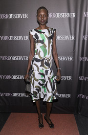 Alek Wek was spring-chic at the New York Observer relaunch in a brushstroke-print dress from the Marks & Spencer Autograph Collection.