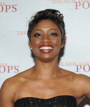 Montego Glover wore a mussed-up fauxhawk at the New York Pops 31st birthday gala.