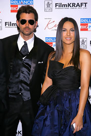 Hrithik wears his aviator sunglasses with this three piece suit to the New York premiere of 'Kites.'
