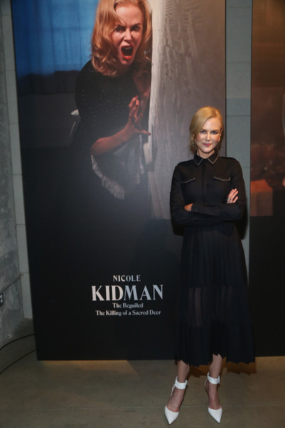 Nicole Kidman styled her LBD with white ankle-cuff pumps by Aquazurra.