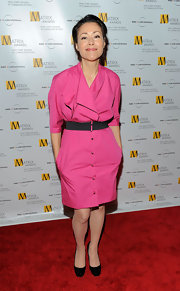 Ann Curry finished off her business-like get-up with a pair of square-toe black pumps.
